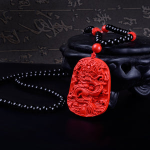 Carved Red Dragon Necklace