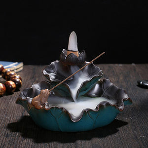 Lotus Leaf/Frog Backflow Incense Burner