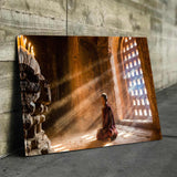 Monk Meditating Canvas Wall Art