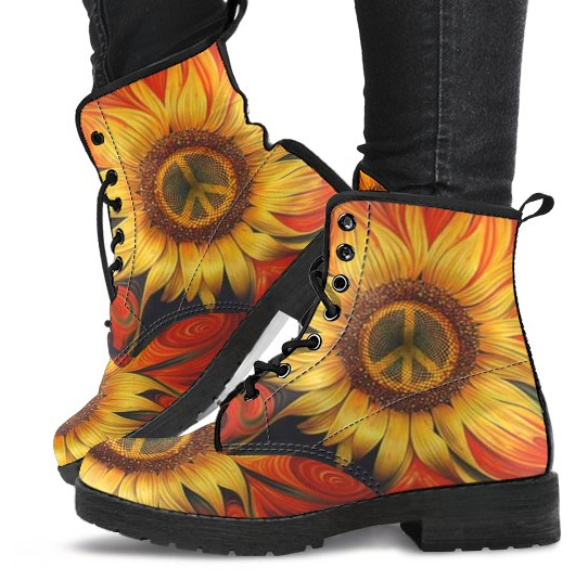 Peace Flower Women's Leather Boots