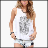 Apparel - Women Hamsa Hand Open Back Tank Top.