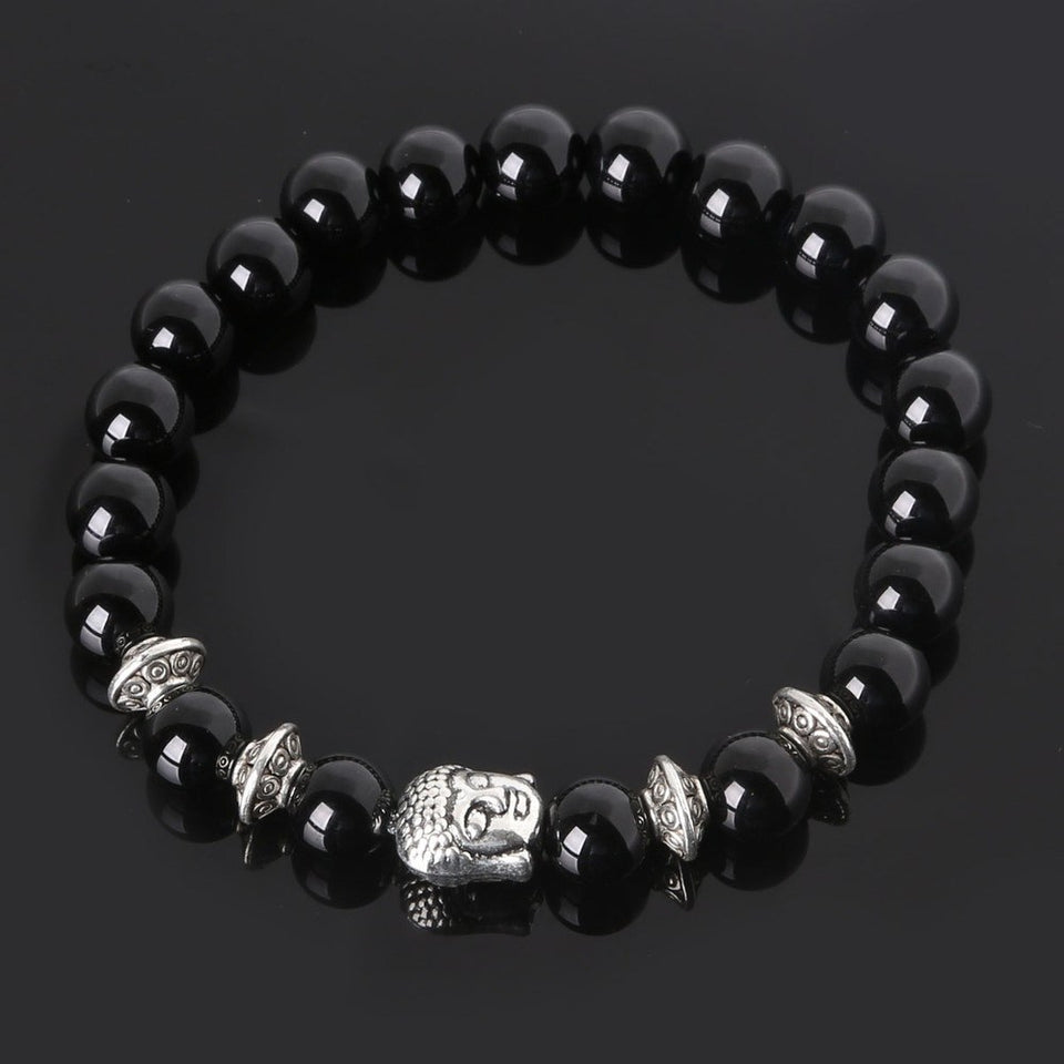 Natural Stones Beads Buddha Bracelets. 5 Colors. - Hilltop Apparel - 1