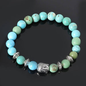 Natural Stones Beads Buddha Bracelets. 5 Colors. - Hilltop Apparel - 2