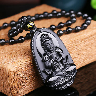 Black Obsidian Carved Buddha Pendant Necklace. - Hilltop Apparel - 7