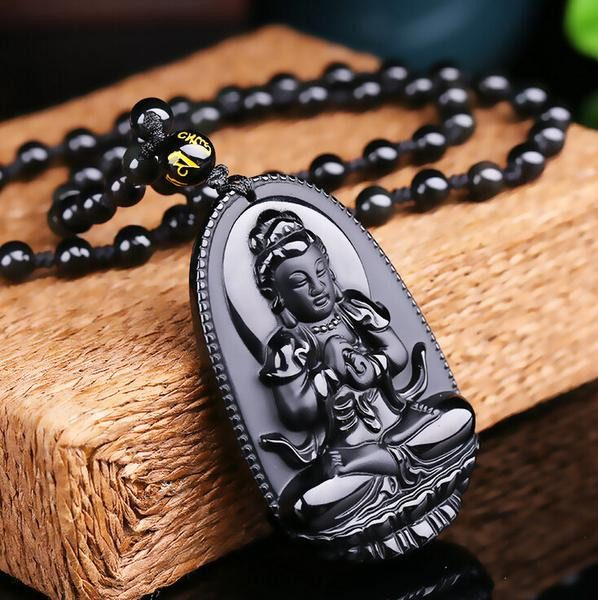 Black Obsidian Carved Buddha Pendant Necklace. 36