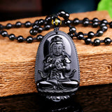 "Black Obsidian Carved Buddha Pendant Necklace. 36"" Long. - Hilltop Apparel - 2"