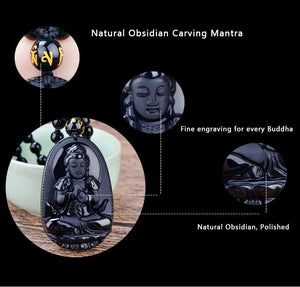 "Black Obsidian Carved Buddha Pendant Necklace. 36"" Long. - Hilltop Apparel - 3"