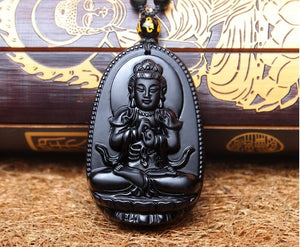 "Black Obsidian Carved Buddha Pendant Necklace. 36"" Long. - Hilltop Apparel - 4"