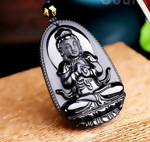 "Black Obsidian Carved Buddha Pendant Necklace. 36"" Long. - Hilltop Apparel - 5"