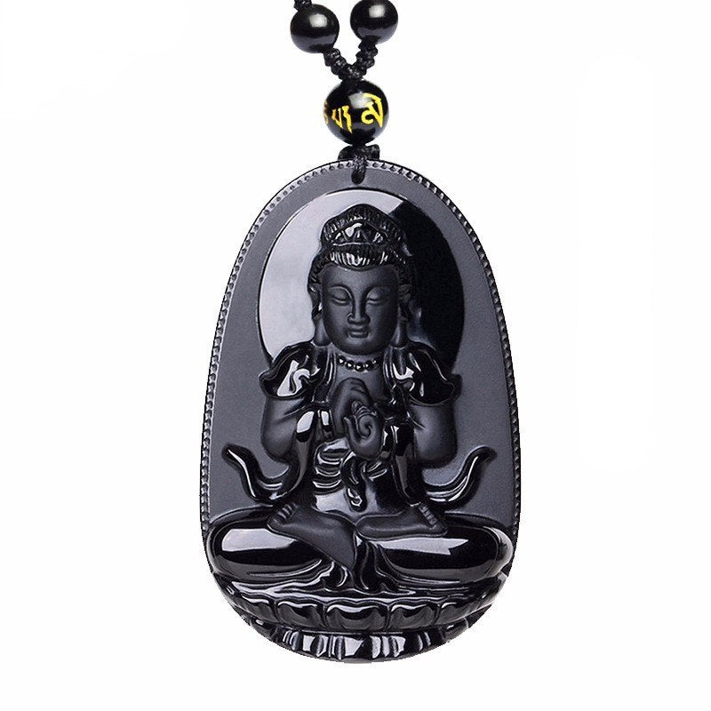 "Black Obsidian Carved Buddha Pendant Necklace. 36"" Long. - Hilltop Apparel - 6"