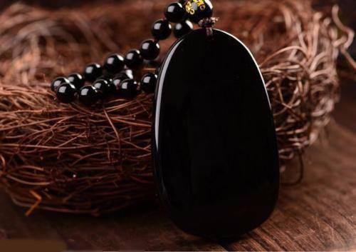 "Black Obsidian Carved Buddha Pendant Necklace. 36"" Long. - Hilltop Apparel - 7"
