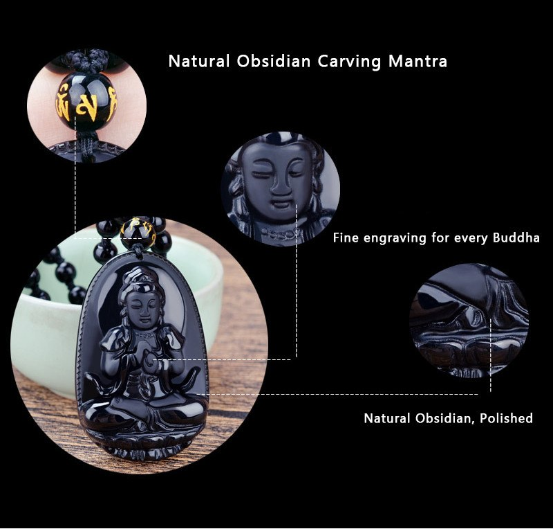 Black Obsidian Carved Buddha Pendant Necklace. - Hilltop Apparel - 3
