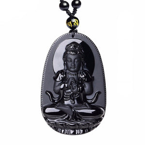 Black Obsidian Carved Buddha Pendant Necklace. - Hilltop Apparel - 6