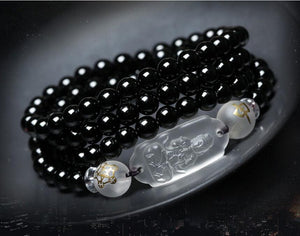 Bracelet - 6MM Black Obsidian Carved Buddha Lucky Amulet Round Beads Bracelet  For Women Men Bracelet Jade Jewelry