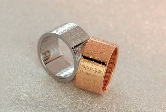 Buddhist Sutra Ring. Titanium Steel or Rose Gold Plated. - Hilltop Apparel - 2