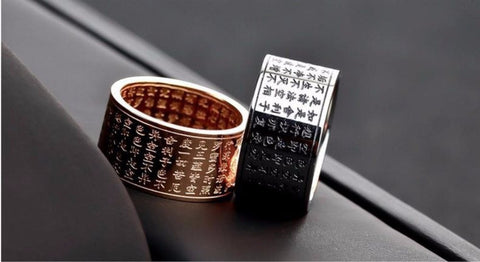 Buddhist Sutra Ring. Titanium Steel Or Rose Gold Plated.