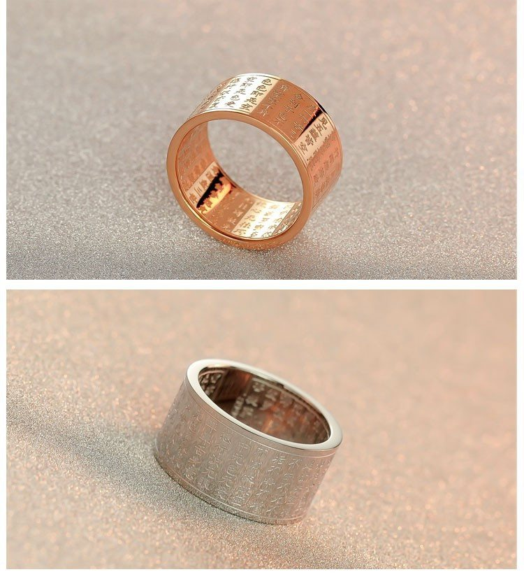 Buddhist Sutra Ring. Titanium Steel or Rose Gold Plated. - Hilltop Apparel - 3