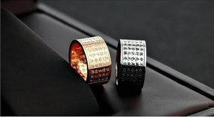 Ring - Buddhist Sutra Ring. Titanium Steel Or Rose Gold Plated.