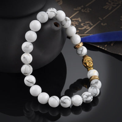 White Turquoise Buddha Beads Bracelet. - Hilltop Apparel - 4