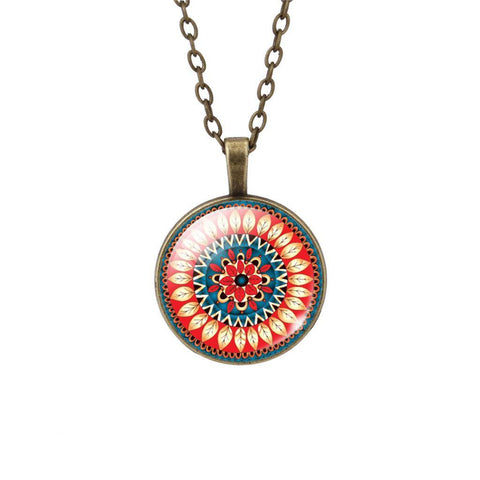Buddhist Multi Color OM Pendant Necklace - Hilltop Apparel - 1
