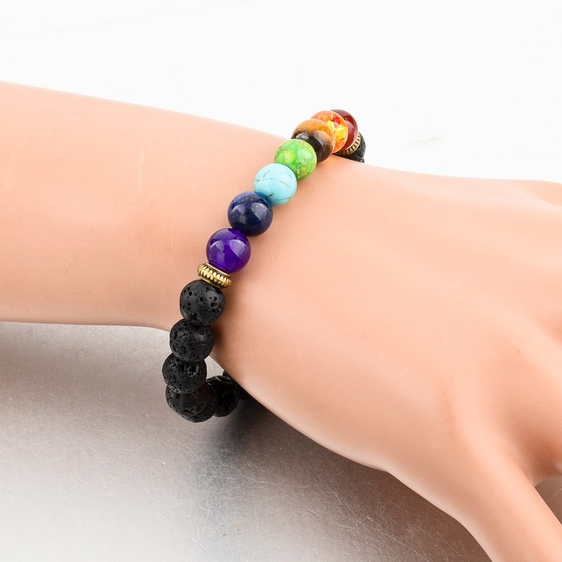 Lava Stone with Multicolor Natural Stones Bracelet. - Hilltop Apparel - 2