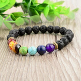 Lava Stone with Multicolor Natural Stones Bracelet. - Hilltop Apparel - 3