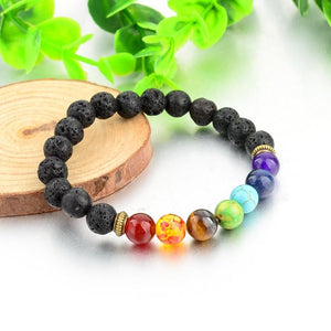 Lava Stone with Multicolor Natural Stones Bracelet. - Hilltop Apparel - 5