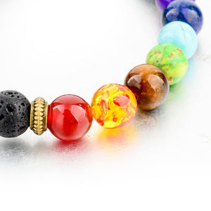 Lava Stone with Multicolor Natural Stones Bracelet. - Hilltop Apparel - 7