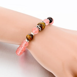 Rose Quartz Natural Stone Bracelet. - Hilltop Apparel - 4