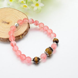 Rose Quartz Natural Stone Bracelet. - Hilltop Apparel - 3