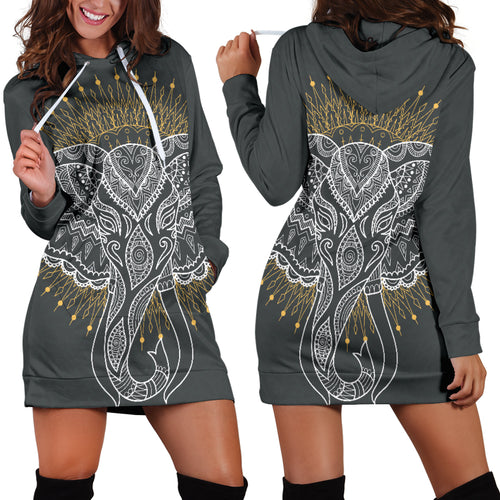 Abstract Elephant Hoodie Dress