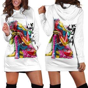 Abstract Buddha Hoodie Dress