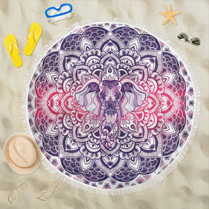Lucky Purple Elephant Mandala Roundie Beach Blanket