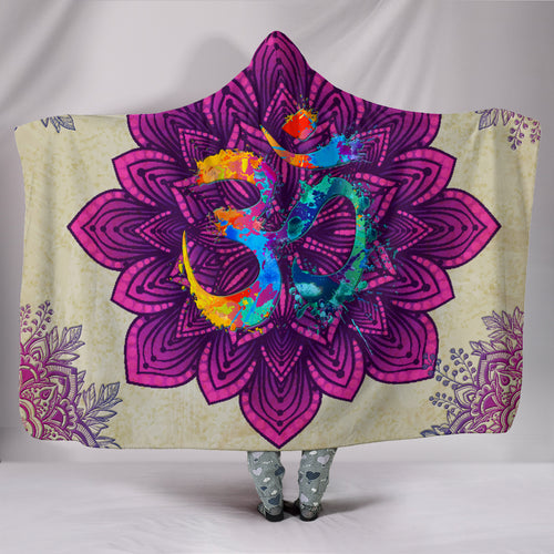 Purple Mandala Om Hooded Blanket