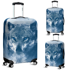Blue Eyed Wolf Luggage Cover