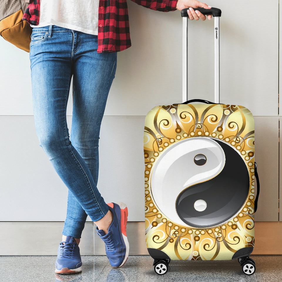 Golden Yin Yang Luggage Cover