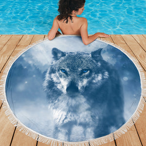 Blue Eyed Wolf Beach Blanket