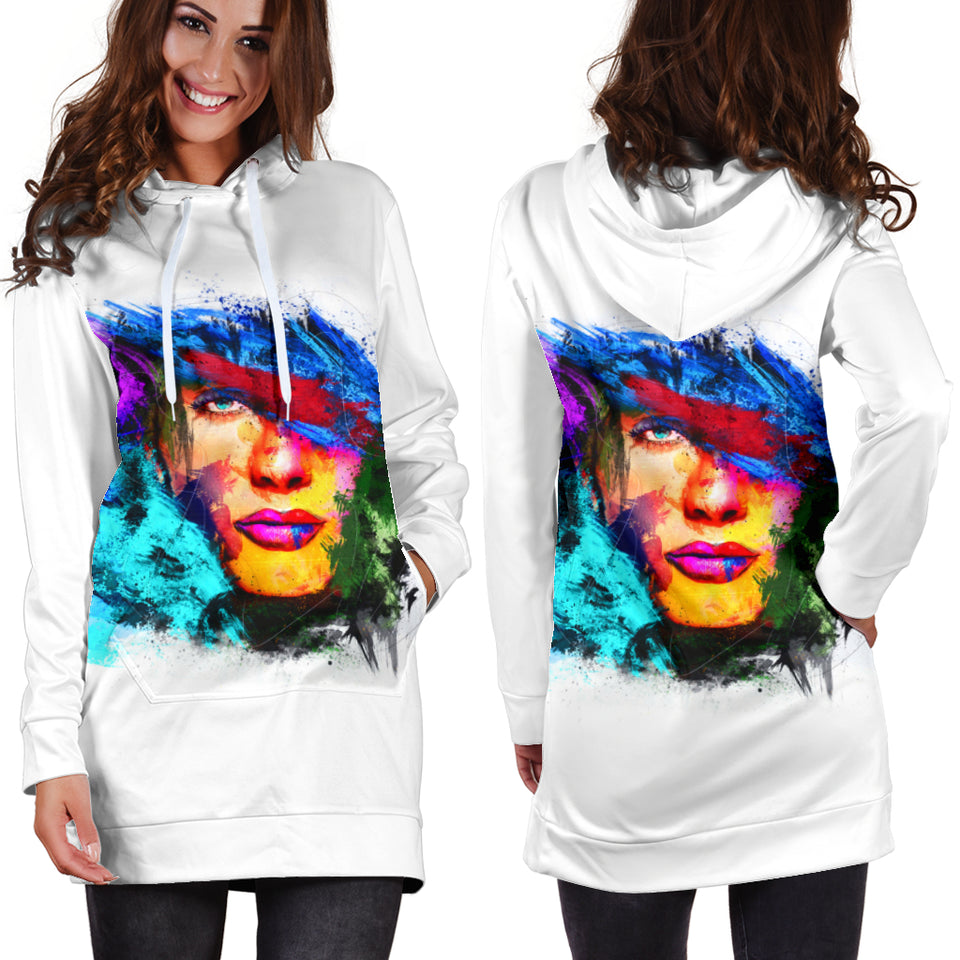Abstract Face Hoodie Dress