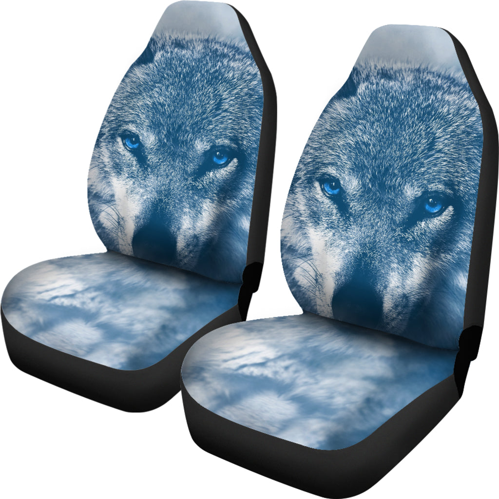 Blue Eyed Wolf Car Seat Cover