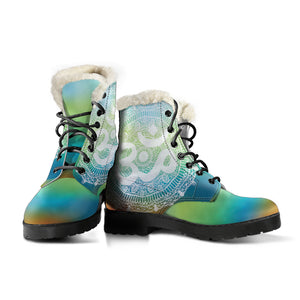 Ohm Mandala Faux Fur Leather Boots