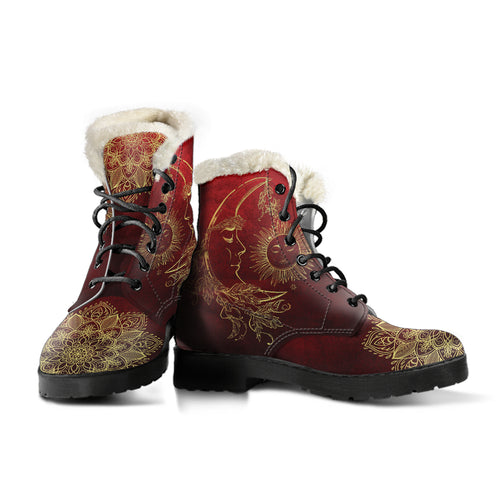 Red Sun And Moon Faux Fur Leather Boots