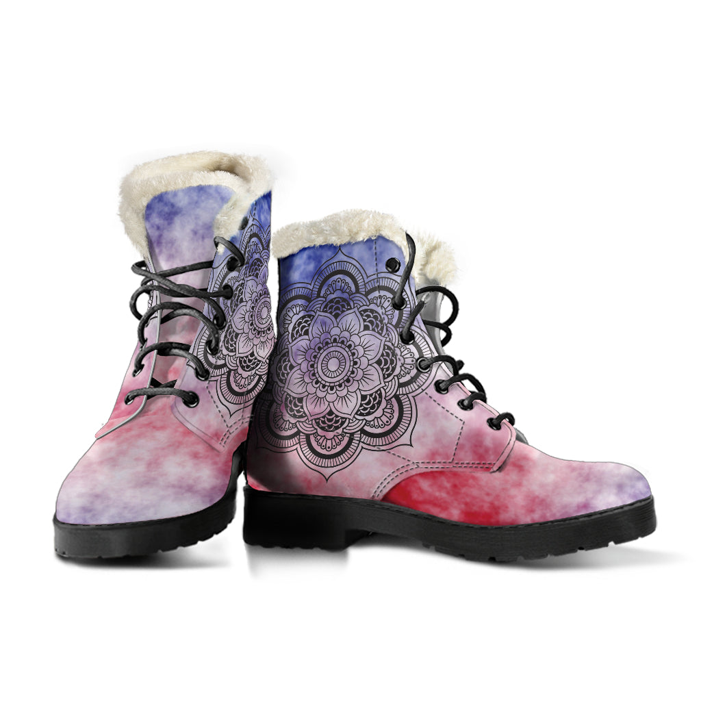 TieDye Mandala Faux Fur Leather Boots