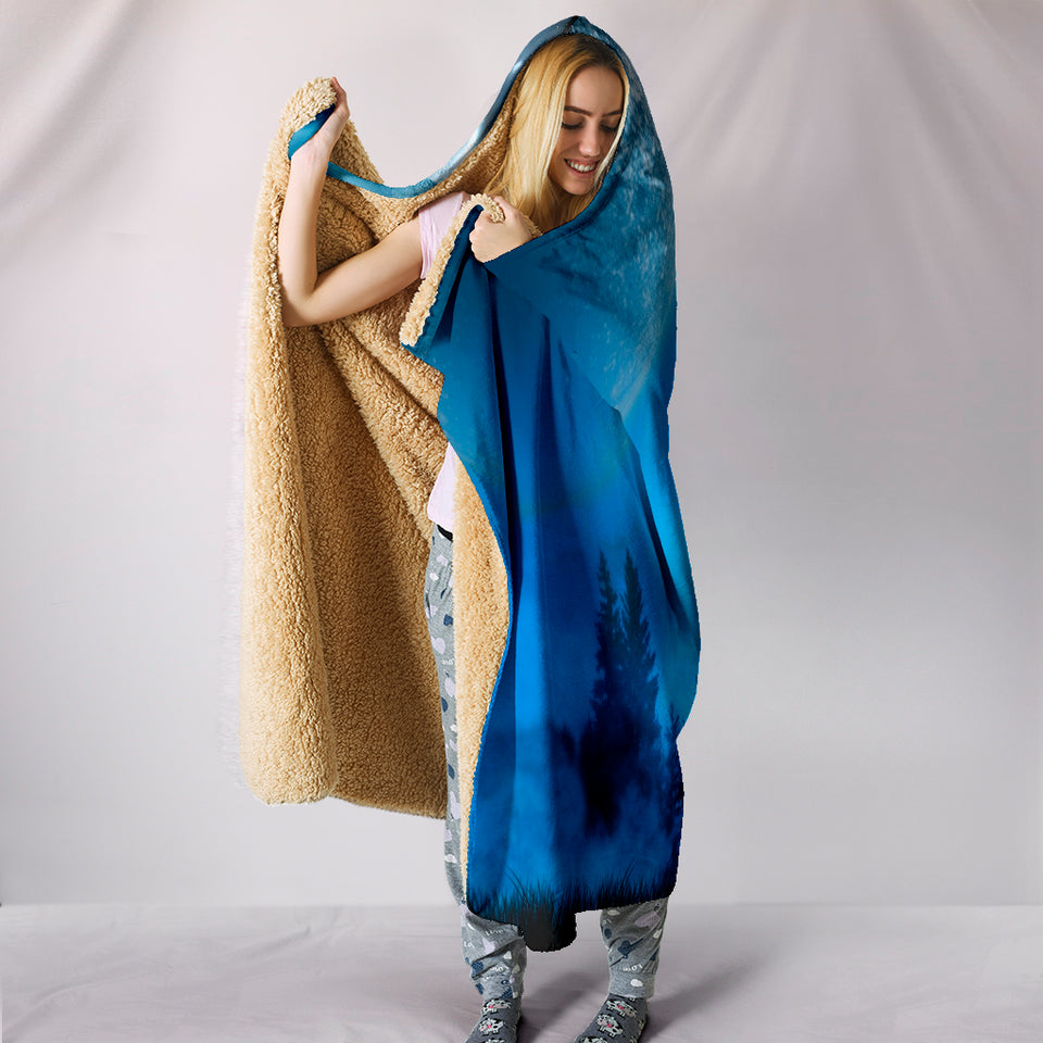Wolf Blue Moon Plush Lined Wearable Hooded Blanket