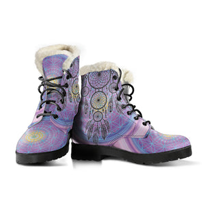 Chakra Dreamcatcher Faux Fur Leather Boots