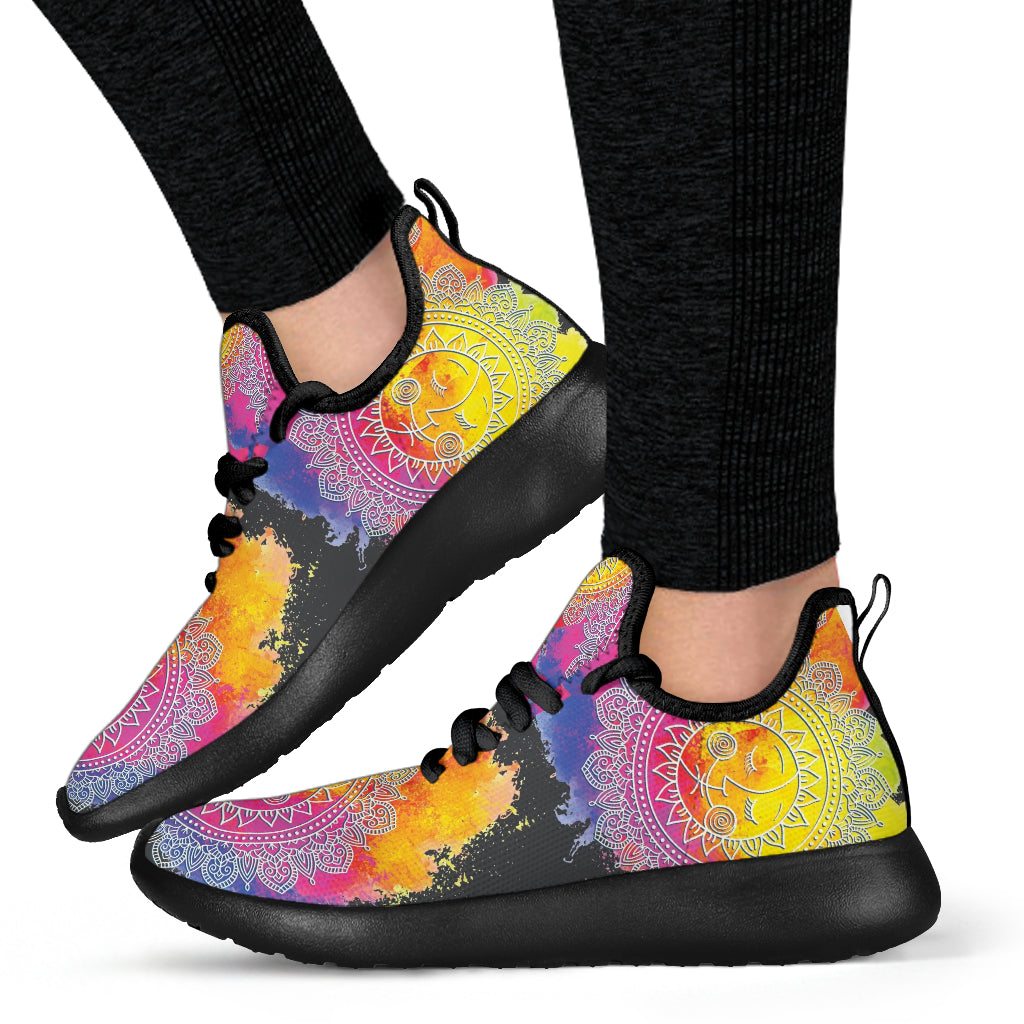 Watercolor Sun & Moon Mandala Mesh Knit Sneakers