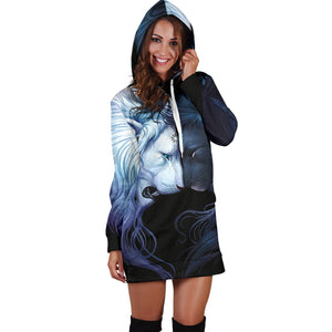 Black and White Lion Hoodie Dress