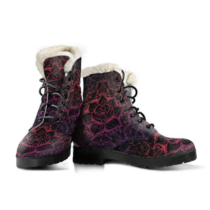 Zen Vibrations Faux Fur Leather Boots