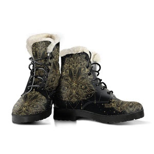 Golden Lotus Faux Fur Leather Boots