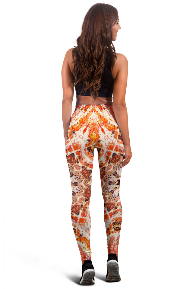 Fiery Orange Mandala Leggings