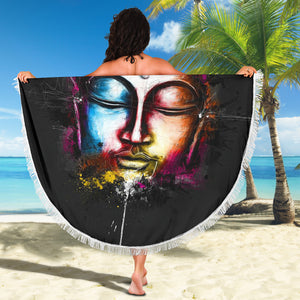 Abstract Buddha Face Beach Blanket